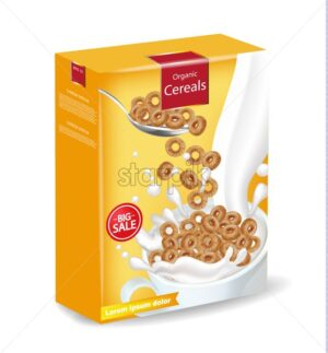 Cornflakes cereals with milk splash Vector realistic mock up. Product placement label design. 3d detailed illustration - starpik