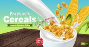Cornflakes in milk splash Vector realistic mock up. Product placement label design. 3d detailed illustration - starpik