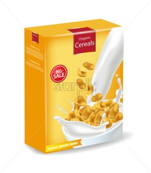 Cornflakes package isolated Vector realistic. Product placement mock up. Label design. 3d detailed illustration - starpik