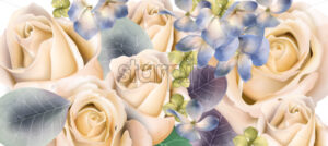 Cream roses bouquet Vector watercolor. Mother day background. Beautiful spring floral design - starpik