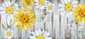 Daisy and tulips flowers bouquet Vector watercolor. Spring Summer backgrounds. Wooden texture - starpik