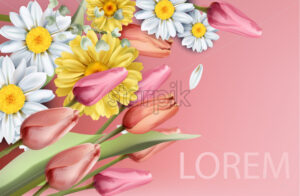 Daisy and tulips flowers bouquet Vector watercolor. Spring Summer trendy background - starpik