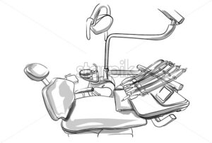 Dentist chair Vector sketch. Doctor utilities storyboard detailed illustration - starpik