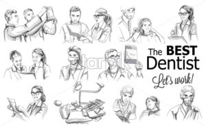 Dentist doctors storyboard Vector. Medical team concept set. Hospital medical staff team doctors nurses surgeon vector sketch illustration - starpik