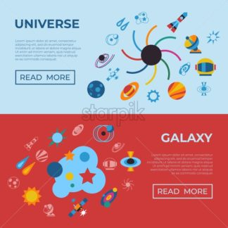 Digital vector black holes and cosmos universe simple icons, flat style infographics - starpik