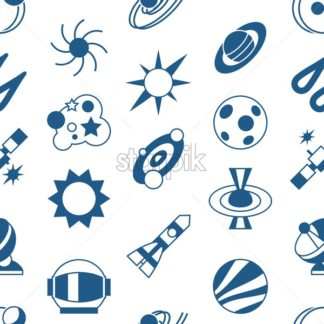 Digital vector black holes and cosmos universe simple icons, flat style seamless pattern infographics - starpik
