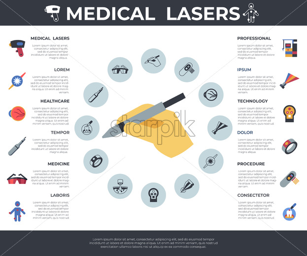 Digital vector medical lasers healthcare simple icons, flat style infographics - starpik