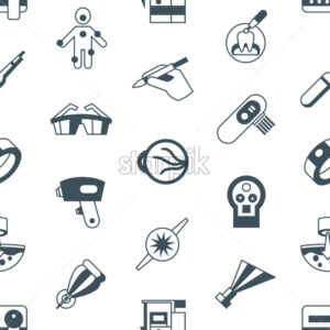 Digital vector medical lasers simple icons, flat style seamless pattern infographics - starpik