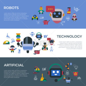 Digital vector service and cleaning home machine robots simple icons, flat style infographics - starpik