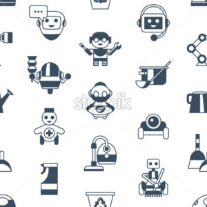 Digital vector service and cleaning home machine robots simple icons, flat style seamless pattern infographics - starpik