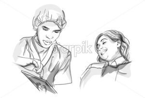 Doctor and patient Vector sketch storyboard. Detailed characters illustration - starpik