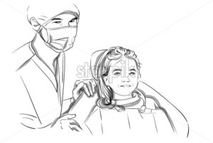 Doctor and patient happy smiling Vector sketch storyboard. Detailed characters illustration - starpik