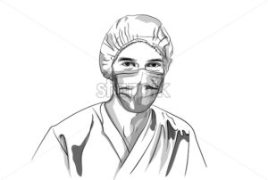 Doctor wearing a mask Vector sketch. Storyboard character detailed illustration - starpik