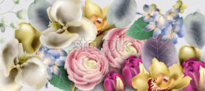 Flowers bouquet Vector watercolor. Delicate seasonal background. Beautiful spring floral design - starpik