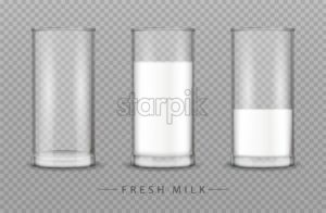 Glass of milk Vector realistic isolated on transparent background - starpik