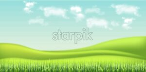 Green field and sky background Vector realistic. detailed 3d illustration - starpik