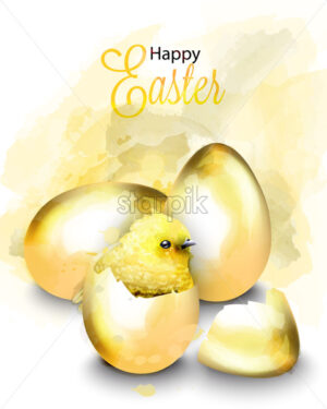 Happy Easter card with cute chicken Vector. Watercolor golden eggs illustration - starpik