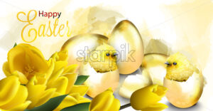 Happy Easter card with golden eggs and cute chicken Vector. Watercolor illustration - starpik