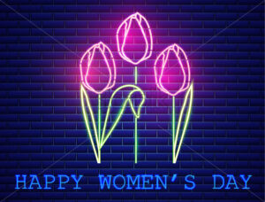 Happy Mother day tulip bouquet neon light Vector. Vintage board. Glowing bouquet. Shiny Neon Light Poster, Flyer, Banner, Postcard, Invitation. Vector 3d Illustration - starpik