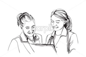 Happy two women doctors smiling Vector sketch storyboard. Detailed character illustration - starpik
