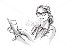 Happy woman doctor smiling Vector sketch storyboard. Detailed character illustration - starpik
