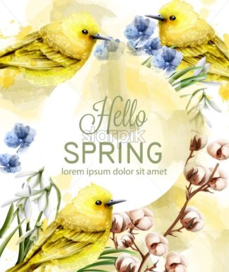 Hello spring card watercolor Vector with cute birds and flowers. Golden small birds. Vintage Color stains splash on background - starpik