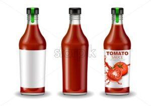 Ketchup bottle set vector realistic mock up. Product placement. Label design. Detailed banner 3d illustration - starpik