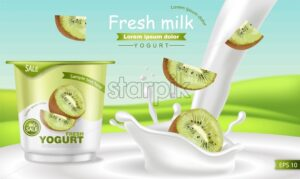 Kiwi yogurt Vector realistic. Product placement mock up. Fresh yogurt splash with fruits. Label design. 3d detailed illustration - starpik