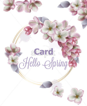 Lilac flowers wreath card Vector watercolor. Romantic floral wedding or greeting card decoration. Women day, Valentines Day, sales and other event - starpik