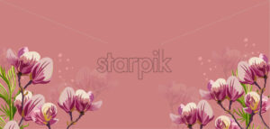 Magnolia flowers Vector on pink background. Beautiful card template - starpik