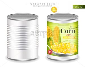 Metallic canned corn Vector realistic. Product placement. Label design template. 3d illustration - starpik