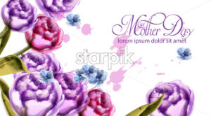 Mother day bouquet flowers card Vector watercolor. Spring bouquet card template - starpik
