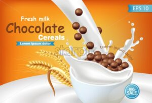 Organic Chocolate cereals in milk splash Vector realistic mock up. Product placement label design. 3d detailed illustration - starpik