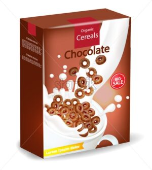 Organic Chocolate cereals package Vector realistic mock up. Product placement label design. 3d detailed illustration - starpik