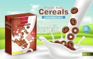 Organic cereals in milk splash Vector realistic mock up. Product placement label design. 3d detailed illustration - starpik