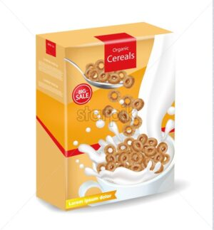 Organic rye cereals package Vector realistic mock up. Product placement label design. 3d detailed illustration - starpik