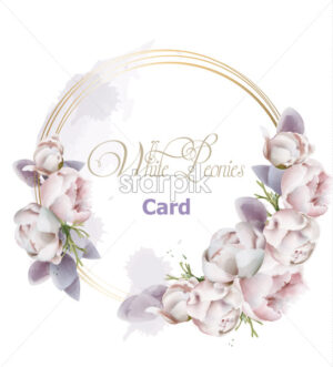 Peony flowers wreath card watercolor Vector. Romantic floral invitation or greeting card decoration. Women day, Valentines Day, sales and other event - starpik