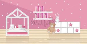 Pink girl bedroom Vector flat style. Toys and books on pink background - starpik