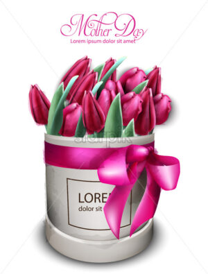 Pink tulip flowers bouquet Vector watercolor. Mother day card. Beautiful spring floral design - starpik
