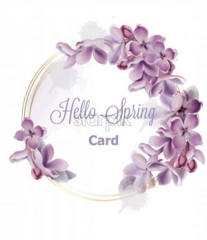 Purple lilac flowers wreath card Vector watercolor. Romantic floral wedding or greeting card decoration. Women day, Valentines Day, sales and other event - starpik