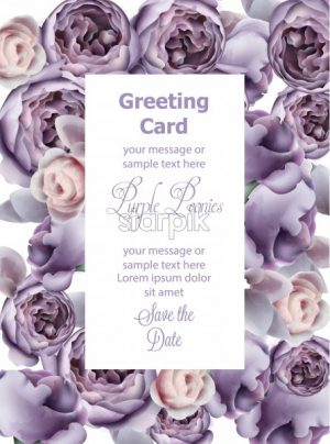 Purple peony flowers card watercolor Vector. Romantic floral invitation or greeting card decoration. Women day, Valentines Day, sales and other event - starpik