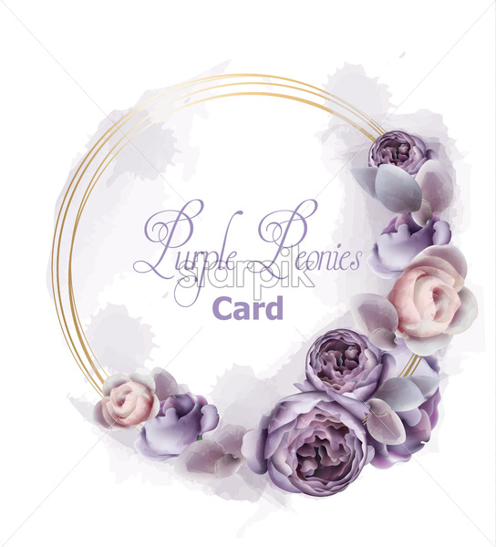 Purple peony flowers wreath card watercolor Vector. Romantic floral invitation or greeting card decoration. Women day, Valentines Day, sales and other event - starpik