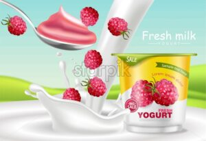 Raspberry yogurt Vector realistic. Product placement mock up. Fresh yogurt splash with fruits. Label design. 3d detailed illustration - starpik