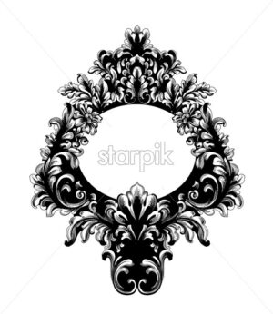 Rococo Baroque Mirror frame. Vector French Luxury rich intricate ornaments. Victorian Royal Style decor - starpik