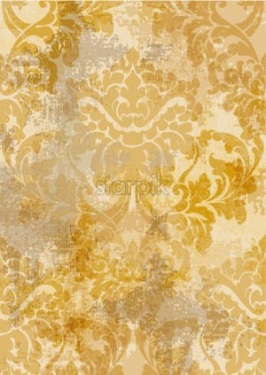 Rococo texture pattern Vector. Floral ornament decoration old effect. Victorian engraved retro design. Vintage fabric decors. Golden yellow color - starpik