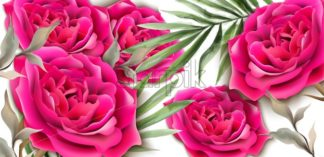 Roses card Vector realistic. Beautiful floral decor palm leaves. Exotic tropic postcards. Fucsia rose flower - starpik