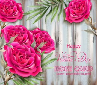 Roses card Vector realistic. Beautiful floral decor with palm leaves. Exotic tropic postcards. Fucsia rose flower - starpik