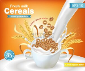 Rye cereals bowl with milk splash Vector realistic mock up. Product placement label design. 3d detailed illustration - starpik