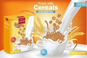 Rye cereals in milk splash Vector realistic mock up. Product placement label design. 3d detailed illustration - starpik