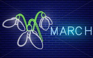 Snowdrop neon sign Vector. Spring design element. Night bright neon sign. colorful board. Glowing banner. Floral template calendar illustration - starpik